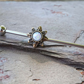 White Opal Sun Industrial Barbell Scaffold Piercing