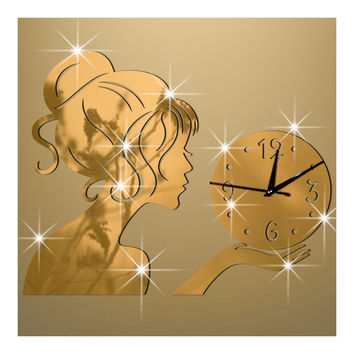 Wall Clock Creative Living Room Mirror Girl Sticking   golden
