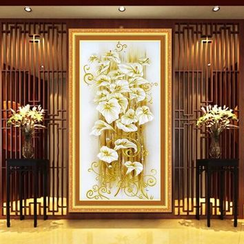 wealth Flowers Lily Cotton Silk Canvas DMC Cross Stitch Kit Accurate Printed Embroidery DIY Handmade Needle work Wall Home Decor