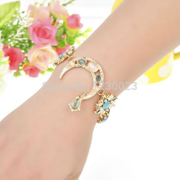 New arrival boutique fashion enamel bangle for women star moon opal personalized charm bracelets