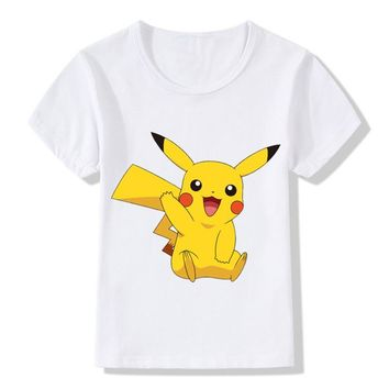 New Arrival Children  GO T-Shirts Kids Summer Cute Pikachu T shirt Baby Girls Boys Funny Clothes,HKP2080Kawaii Pokemon go  AT_89_9