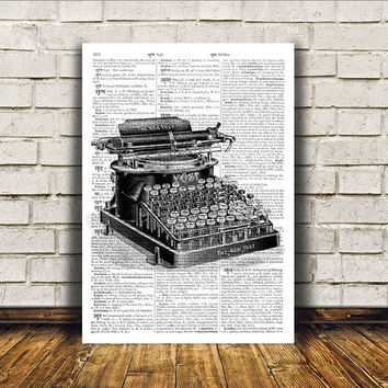 Wall decor Vintage typewriter poster Antique art Retro print RTA310
