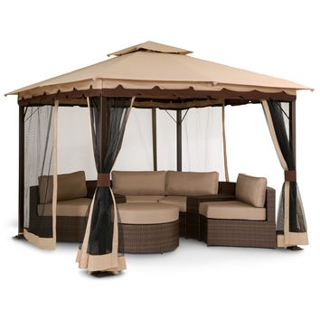 American Signature Furniture - Bali Outdoor Furniture Gazebo with Screen