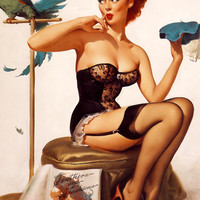 "Handprinted Cotton Art Reprodn Applique Vintage Sexy Pin-up Girl Gil Elvgren ""No you dont"" , 1956"