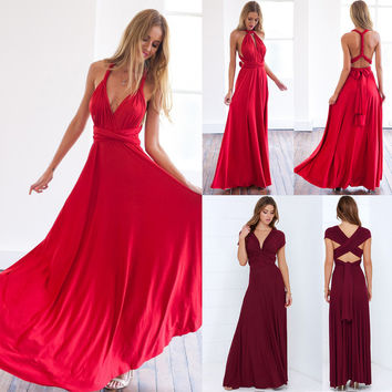 Women Sexy Backless Beach Dress Convertible Multi Way Wrap Maxi Dress Bridesmaid Dresses Long Party Bandage Bodycon Prom Dresses