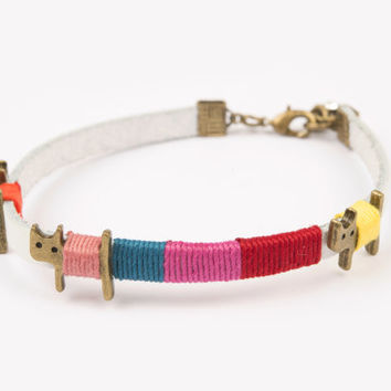 Bracelet real leather cats white cute