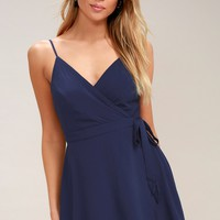 Camden Navy Blue Wrap Skort Dress