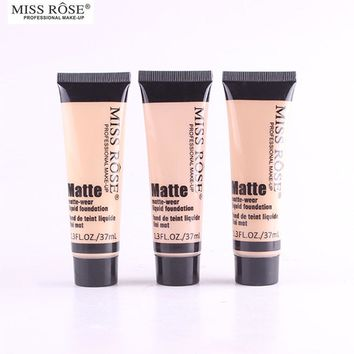 Miss Rose Whitening Liquid Foundation Moisture Matte Natural Face Concealer Makeup Base Dark Circle Pore Covered