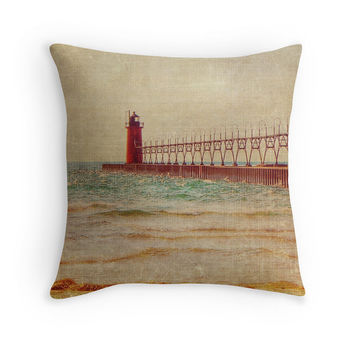 South Haven MI Lighthouse photo pillow cover Lake Michigan Photography, Michigan Photo Pillow Cover, Nautical Home, Lake House Decor, Rustic