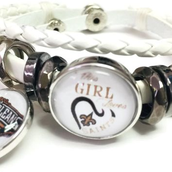 NFL New Orleans Girl Loves Saints Bracelet NFL Football Fan White Leather  W/2 18MM - 20MM Snap Charms