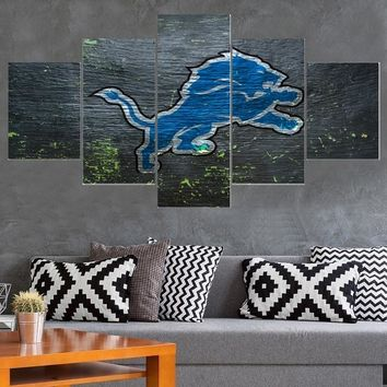 Animal Logo Detroit Lions Canvas Painting Calligraphy Sport Ball Team Poster Wall Art Paintings Modern Home Decor Picture