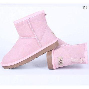 """UGG""  More Color  Fashion New Male Women Wool Snow Keep Warm Boots Shoes Pink"