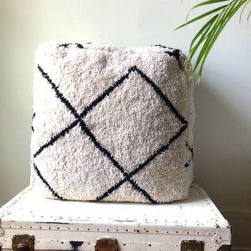 Black and White Azilal Beni Ourien Vintage Rug Square Pouf