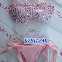 New Sexy Victoria's Secret Sequin Bandeau Bikini Set M S Shimmer Parfait Pink
