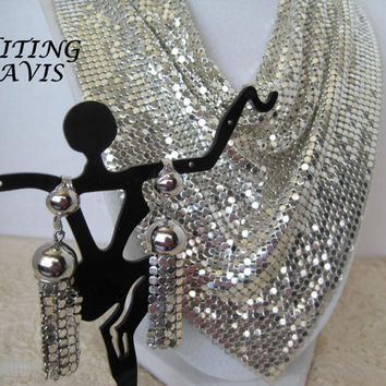 Vintage Whiting Davis Signed Silver Mesh Bib Necklace Earrings