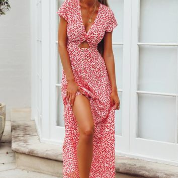 2018 explosions small floral sexy kink long short sleeve dress
