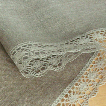 "Linen Tablecloth Vintage Tablecloth Burlap Checked Square Prewashed Natural Gray Linen Lace 40"" x 40"""