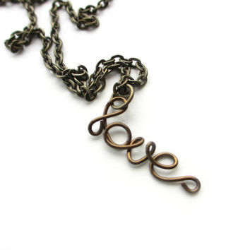 Love Necklace Bronze Wire Word Dainty Brown Jewelry