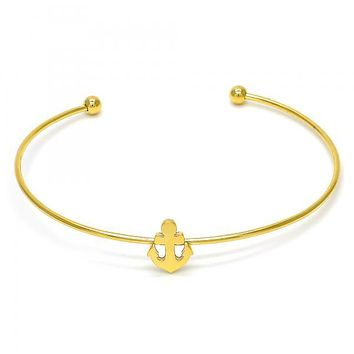 Stainless Steel 07.265.0014 Individual Bangle, Anchor Design, Polished Finish, Golden Tone (01 MM Thickness, One size fits all)
