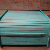 Turquoise Distressed Roll Top Organizer by turquoiserollerset