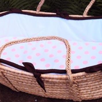 White Collection With Lavender Moses Basket
