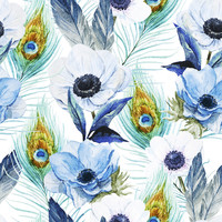 Poppies and Peacocks Removable Wallpaper