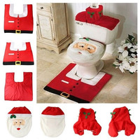Household Christmas Santa Claus Cloth Toilet Foot Pad Cover Toilet Seat Cover Radiator Cap Cover Decorations Bathroom Set = 1945854788