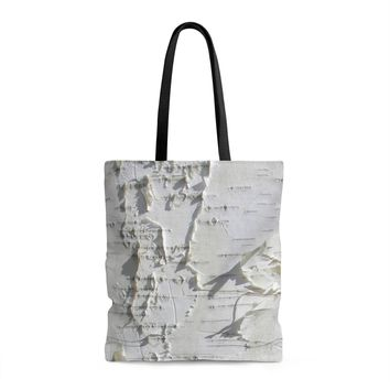 Birch Tree Forest Shopping Tote Bag with Liner