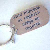 crew keychain, rowing keychain, hand stamped aluminum dog tag keychain, sports keychain, rowing keyring, gift for rower