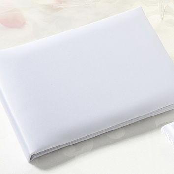Simple White Satin Guest Book for Wedding