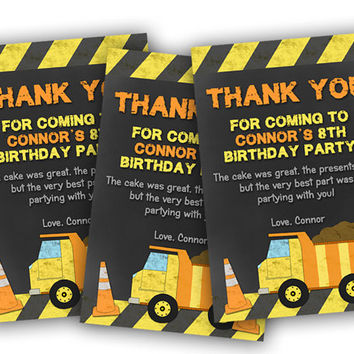 Construction Birthday Thank You Cards - Chalk Dump Truck Construction Baby Shower Thank You Card - Yellow Orange - Truck Thank You