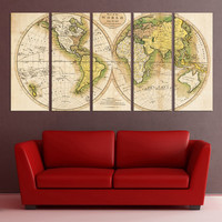 Large wall art canvas, Old world Map wall art print, Modern wall decor, canvas art, fine art print for living room, office decor 7s72