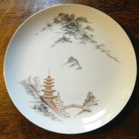 Sone China Plate with Gold Trim - Pattern Kiyomizu - Made in Japan