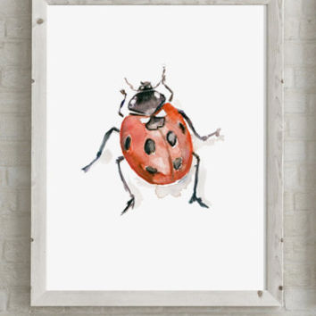 Watercolor painting of a ladybug - Art Print - Zen drawing - animal painting - watercolour beetle painting by Michelle Dujardin