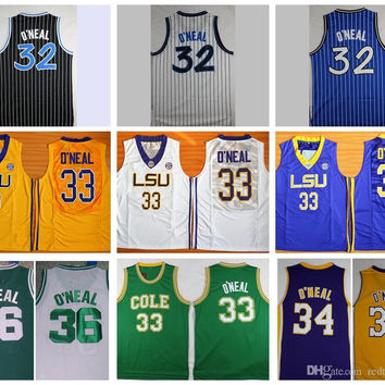 Throwback The Big Shaq Shaquille O'Neal Basketball Jerseys LSU Tigers College Stitched Jerseys Cole High School Green O Neal Shirts