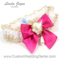 White and Pink WEDDING GARTER Pearl Bridal Lace Garter 112 White-187 Azalea Gold Prom Garter Plus Size & Queen Size Available too
