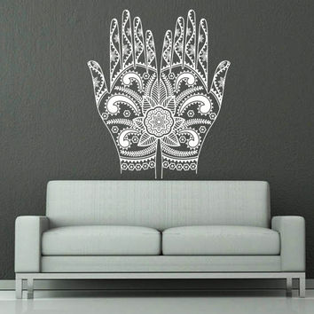 Wall Decal Vinyl Sticker Decals Art Home Decor Design Mural Henna Mehndi Hands Arabic Bahraini Henna Indian Pattern Dorm Bedroom Art AN397