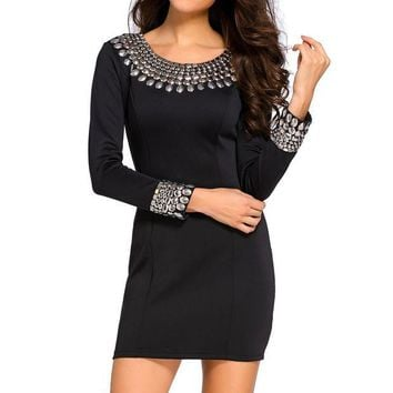 CUPUP9G Black Sexy Round Neck Long Sleeve Bodycon Studded Dress