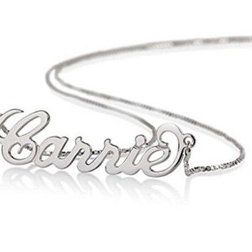 AUGUAU Sterling Silver Personalized Name Necklace - Custom Made Any Name