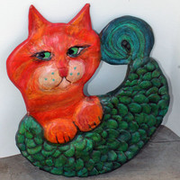 Catfish - OOAK Ceramic Cat Wall Decor