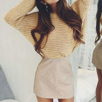 Loose Scoop Long Sleeves Short Knitwear Sweater