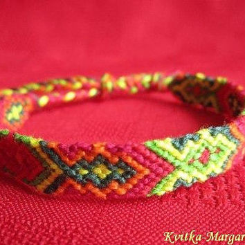 Hand woven friendship bracelet hippie adjustable. surfer. best friend bracelet. summer. boyfriend gift. green. red. orange. white. blue.