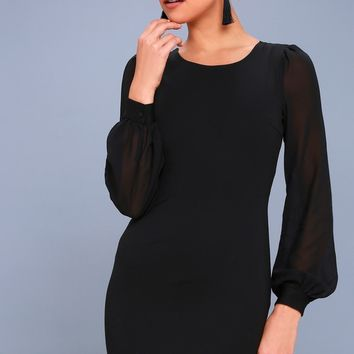 Poetic Love Black Mesh Long Sleeve Bodycon Dress