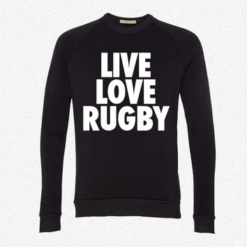 Live Love Rugby fleece crewneck sweatshirt