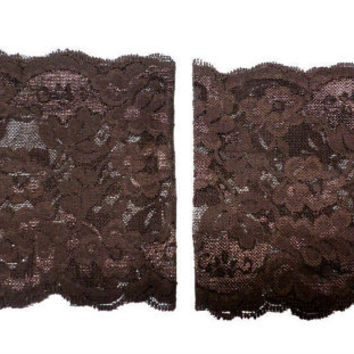 Brown Wide Floral Scalloped Stretch Lace Peek a Boo Boot Cuffs Lacey Boot Cuffs