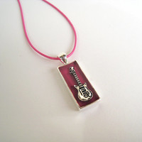 Electric Guitar necklace. Unisex berry pink rose magenta music jewelry rock jazz minimal small rectangle silver charm pendant custom color