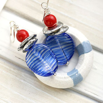 Red and Blue Earrings, Beach Jewelry, Marine Earrings, French Earrings, Navy Blue striped Earrings, Sea Jewelry, Beach Earrings