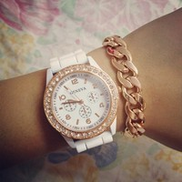 Rose Gold & White Rhinestone Rubber Strap Watch