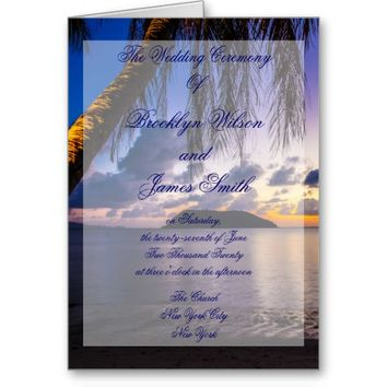 Purple Beach Wedding Ceremony Programs