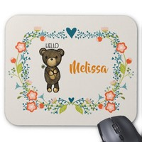 Cute Bear, Yellow Flower & Floral Wreath Mouse Pad